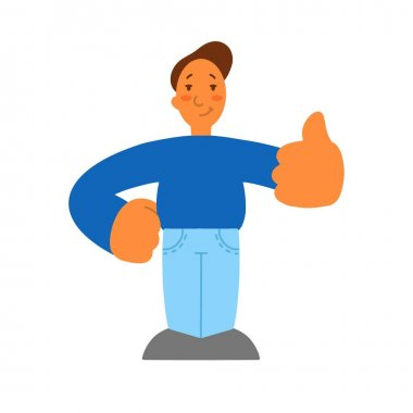 Flat style. Man with thumbs up, good mood gesture. Isolated icon. a disproportionate character with big hands.