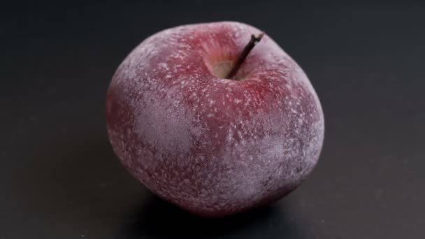 defrosting red apple on a black background