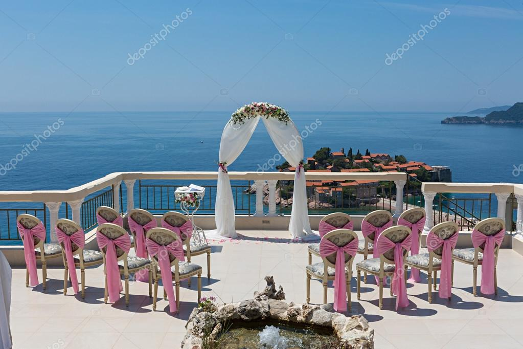 Beautiful wedding arch on the terrace