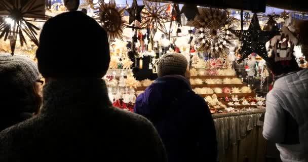 NUREMBERG, GERMANY - NOV 27, 2015: Christmas Market on 27. November. 2015 in Nuremberg, Bavaria, Germany. It is one of the large christmas market in Germany. Opening, first day of work.