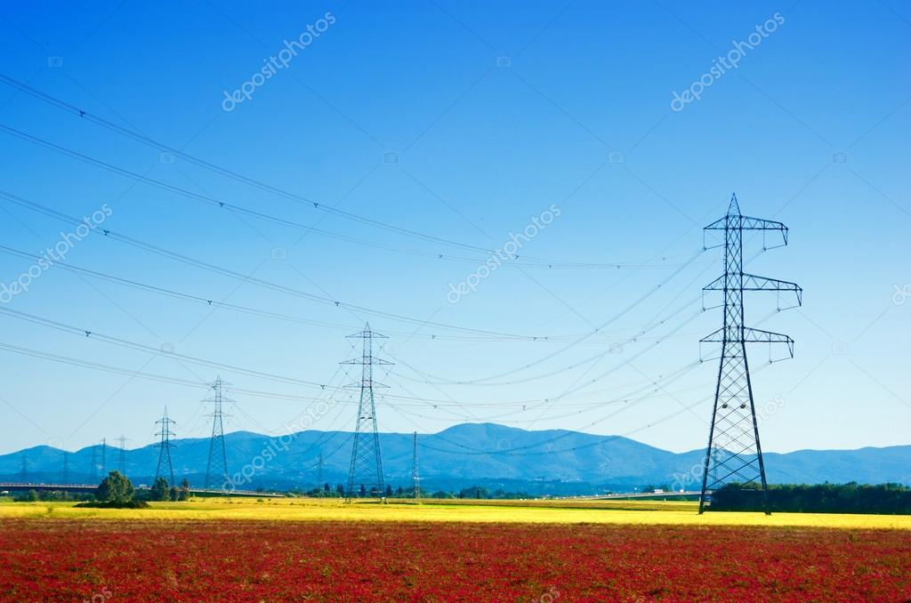 giant electricity pylons in the countryside