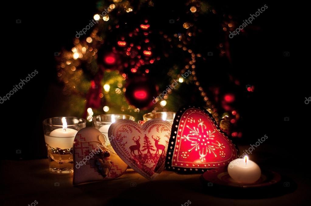 Corazones adornos y luces de navidad feliz navidad - Imagenes de corazones navidenos ...
