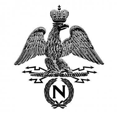 French imperial eagle with Napoleon's wreath, inscription N. Vintage vector illustration.