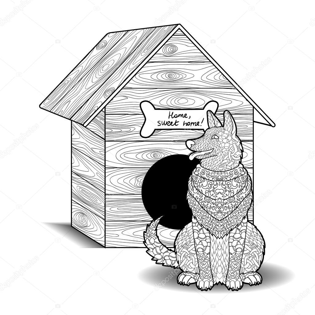 Mutlu Köpek Kulübesi önünde Oturur Stok Vektör Lezhepyoka 100000862