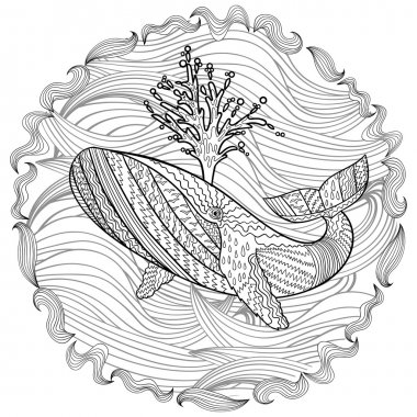 Hand drawn humpback whale in the waves.