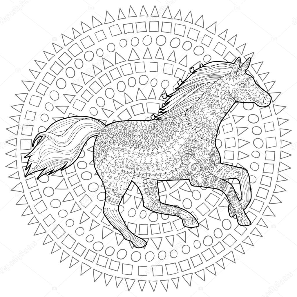 Adult Coloring Page For Antistress Art Therapy Running Horse In Zentangle Style Template T Shirt Tattoo Poster Or Cover Vector Illustration