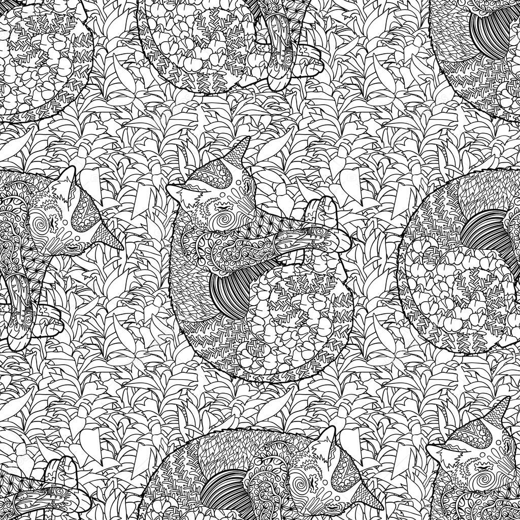 Alta detallada de patrones sin fisuras con gato — Vector de stock ...