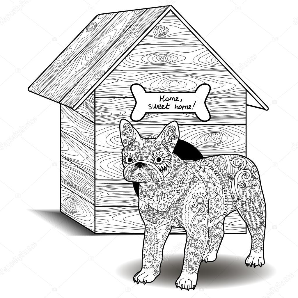 Kleurplaten Hondenhok.Bulldog Staan Voor Het Hondenhok Stockvector C Lezhepyoka 120680704
