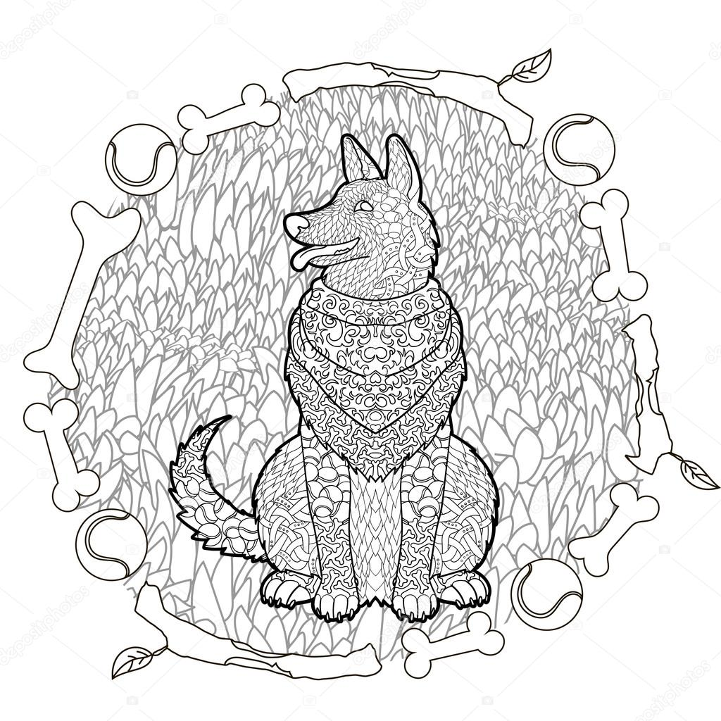 Kleurplaten Honden Duitse Herder.Hoge Detail Patroon Duitse Herder Stockvector
