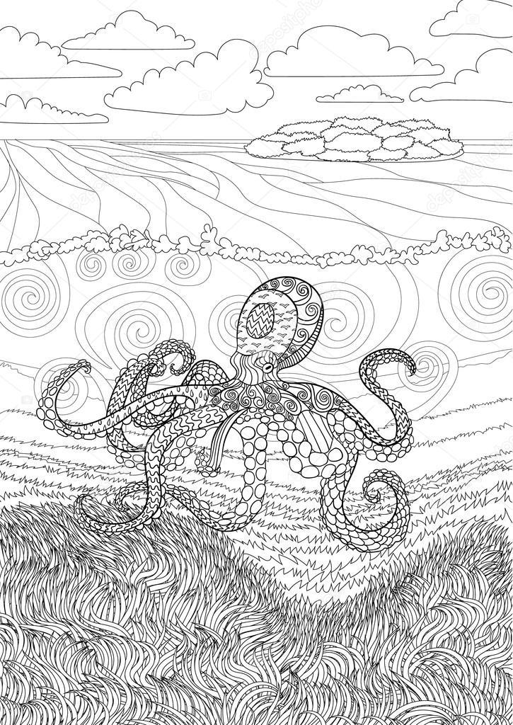 Octopus mit hohen Details — Stockvektor © Lezhepyoka #123810436