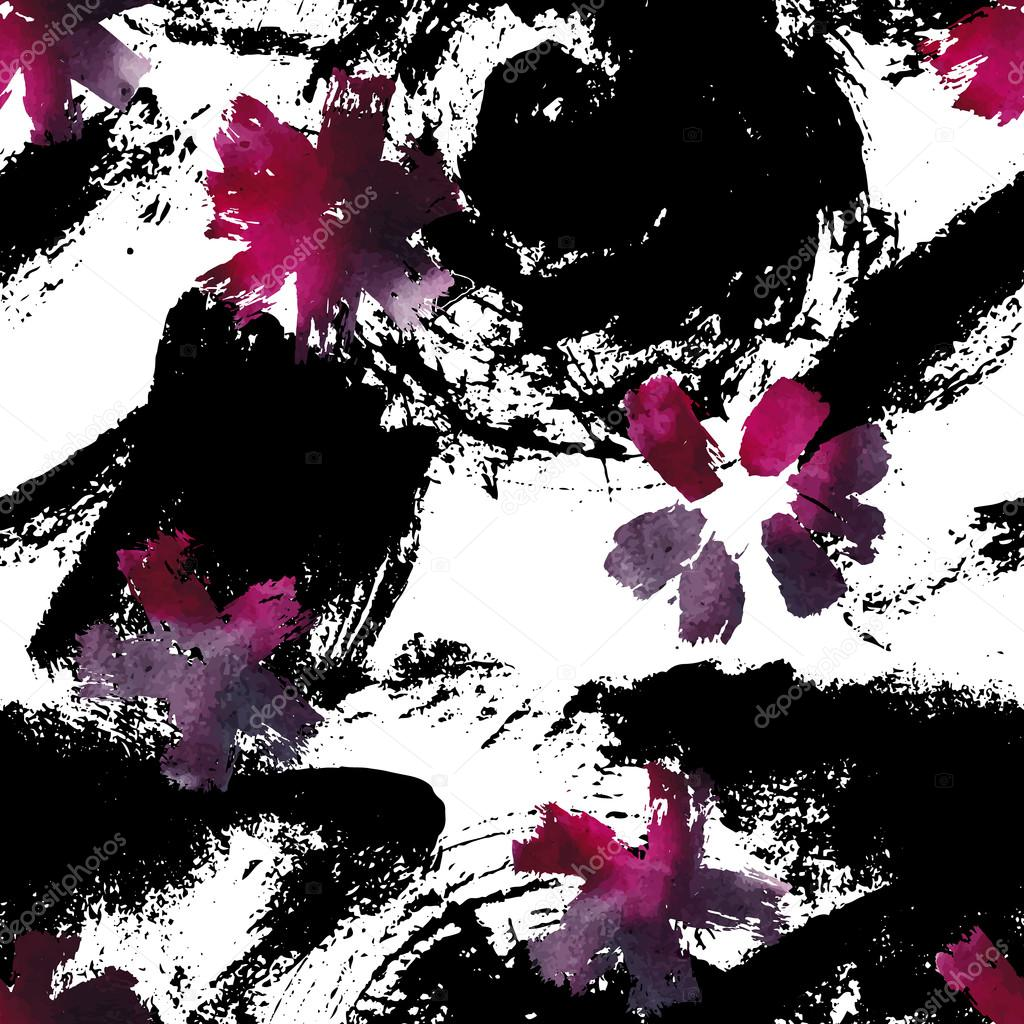 Seamless pattern with beautiful watercolor flowers.