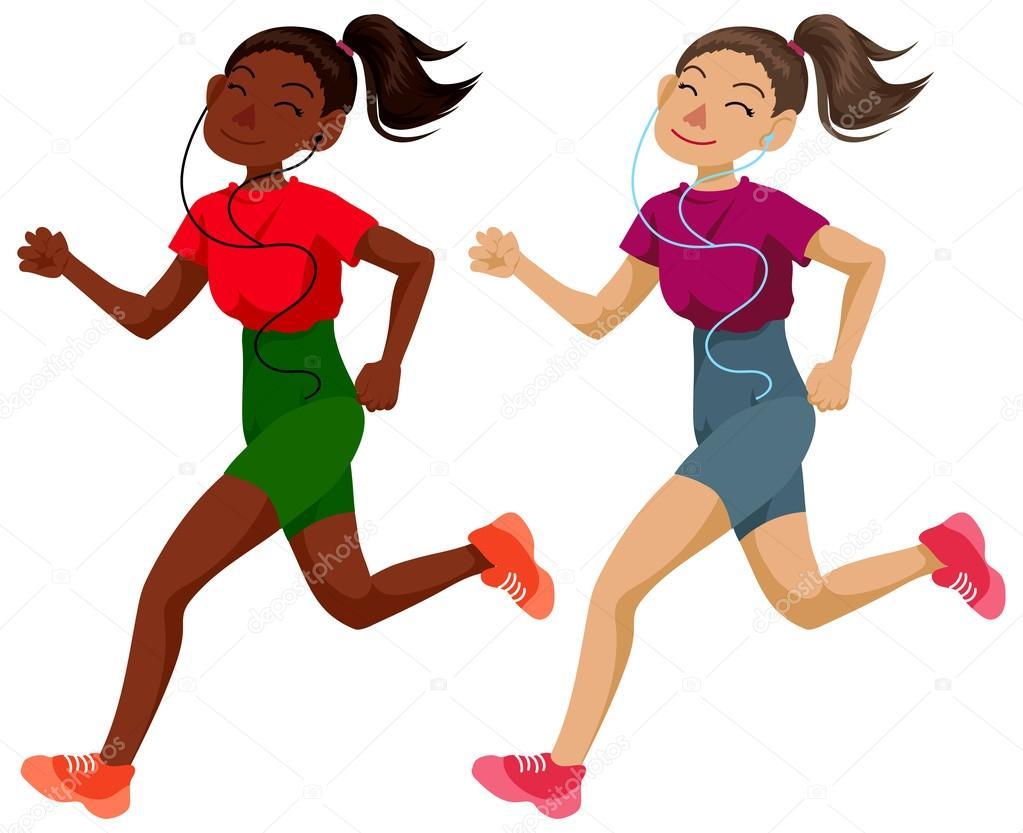 Cute running girls — Stock Photo © Lezhepyoka #70652155