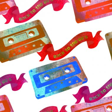 Seamless pattern - retro watercolor audiocassette.