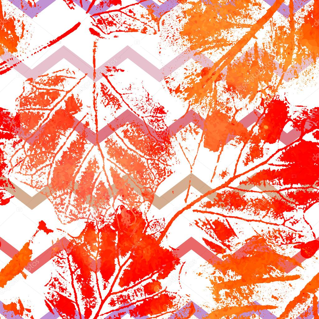 Seamless pattern with imprints of the leaves.