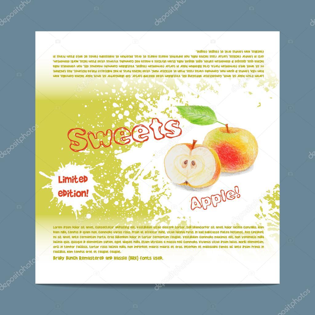 Plantilla de empaquetado del caramelo. Dulces de manzana — Archivo ...
