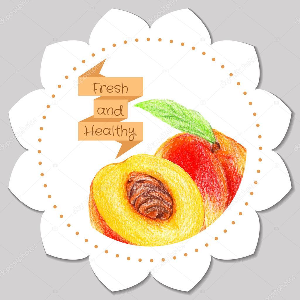 Plantilla de etiqueta. Durazno fresco y saludable — Vector de stock ...