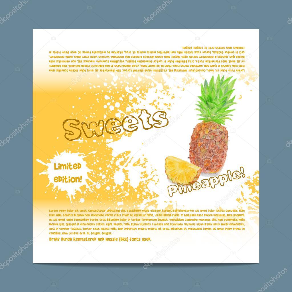 Plantilla de empaquetado del caramelo. Dulces de piña — Archivo ...