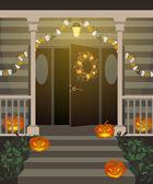 Haustür für Halloween dekoriert
