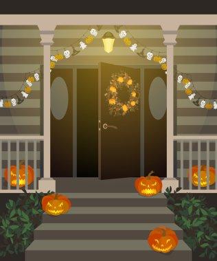 Halloween decorated front door.