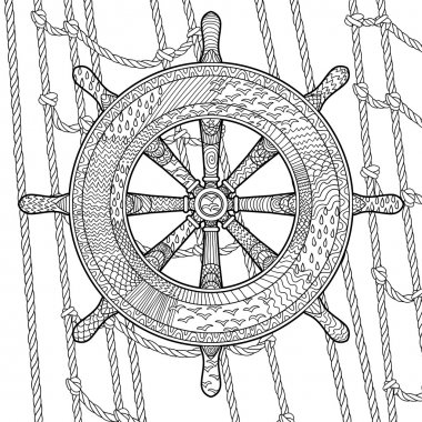 Illustration of an helm in the zentangle style.