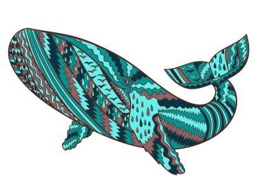 Hand drawn humpback whale.
