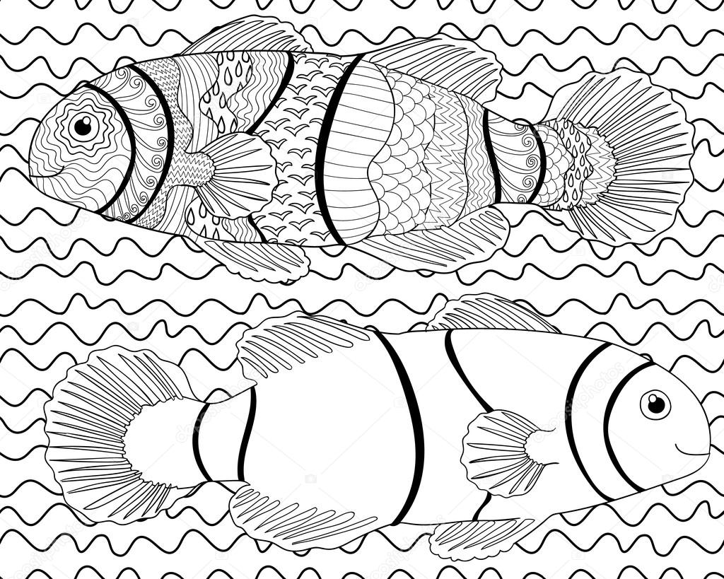 peces ornamentales para colorear libro — Vector de stock ...