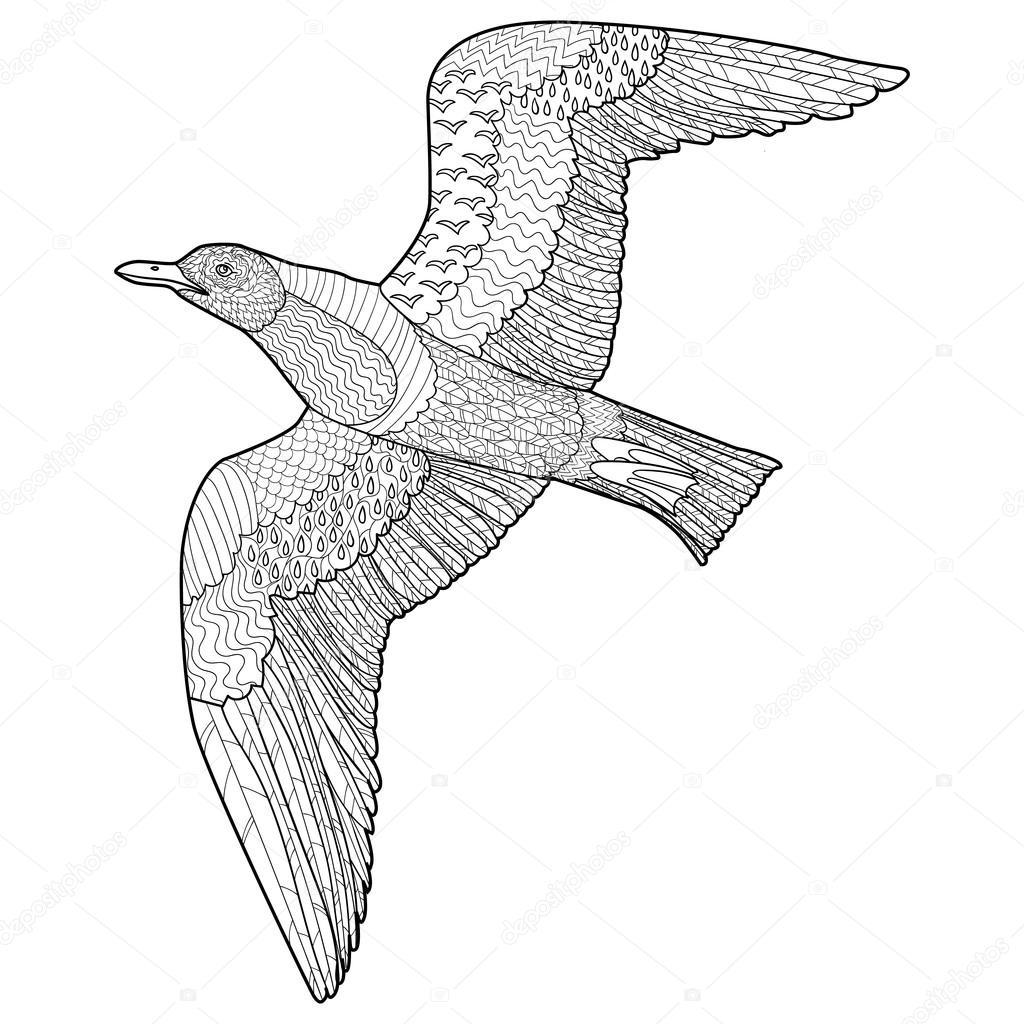 Kleurplaten Vliegende Vogels.Abstracte Sierlijke Zeemeeuw Vogel Stockvector C Lezhepyoka 93656490