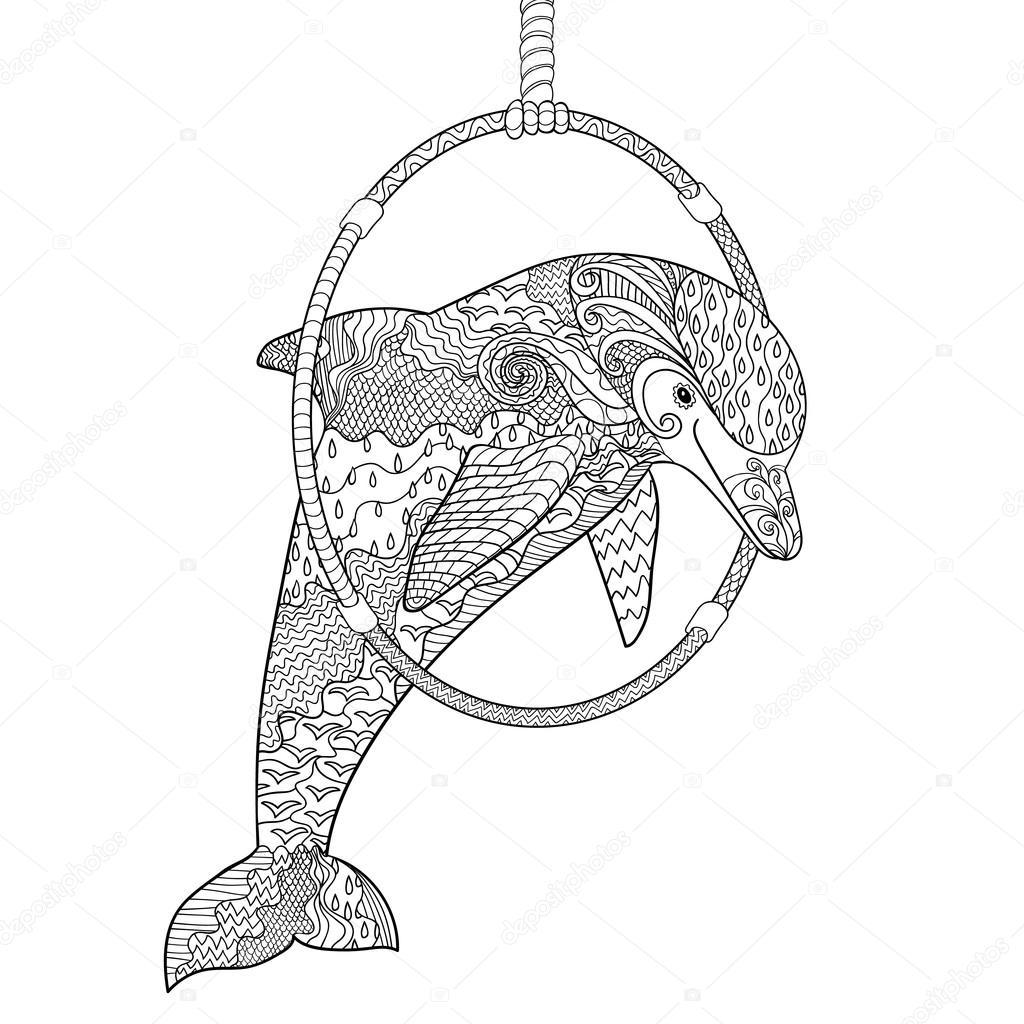 раскраска дельфин печать дельфин прыжки через кольцо в