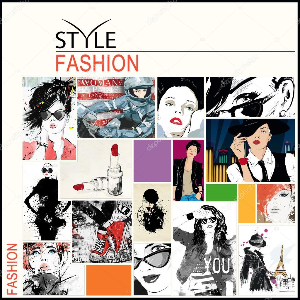 Fashion collage with freehand drawings \u2014 Stock Photo