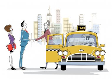 Cooperation in solutions search, Team collaboration, professional marketing research, business meeting. Meeting business partner next to taxi car. Business trend, design thinking, business opportunity icon