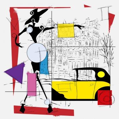 fashion girl cubism