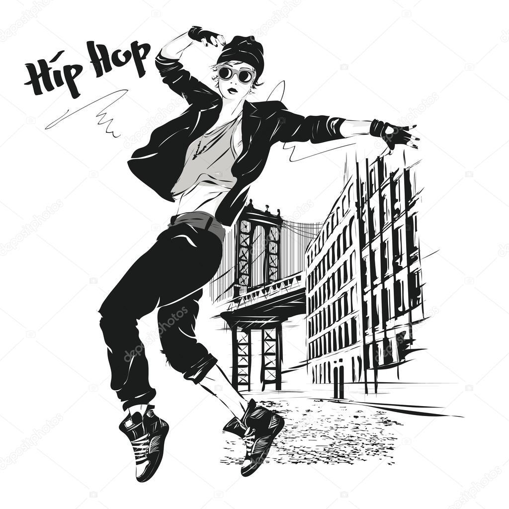The Young Girl Dances Hip Hop Stock Vector C Verlen4418 89209904
