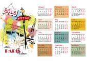Vintage ručně tažené ilustrace eifel tower 2016 kalendáře,