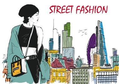 Fashion girl in sketch-style. Vector illustration clip art vector