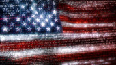 Photo The USA in the digital world of binary and hex code. Concept 3D Illustration of Stars and Stripes banner in computer code depicting the modern challenges of internet and American matters in cyberspace