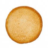 Draufsicht auf goldgerösteten Zwieback-Toast aka beschuit. Isoliert auf weißem Hintergrund.