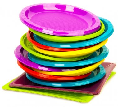 Disposable bright plastic plates stacked