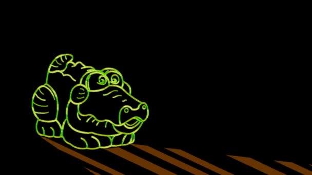 Lustige Tiere, Krokodil. Neonlicht. Gestaltung von Werbebannern und Webseiten. Ein leuchtendes Zeichen.