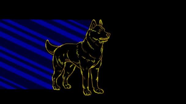 Lustige Tiere, Hund. Neonlicht. Gestaltung von Werbebannern und Webseiten. Ein leuchtendes Zeichen.