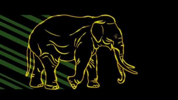 Lustige Tiere, Elefanten. Neonlicht. Gestaltung von Werbebannern und Webseiten. Ein leuchtendes Zeichen.