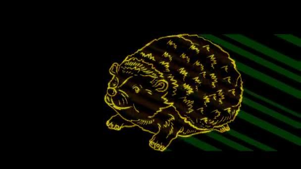 Lustige Tiere, Igel. Neonlicht. Gestaltung von Werbebannern und Webseiten. Ein leuchtendes Zeichen.