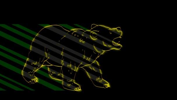 Lustige Tiere, Bär. Neonlicht. Gestaltung von Werbebannern und Webseiten. Ein leuchtendes Zeichen.