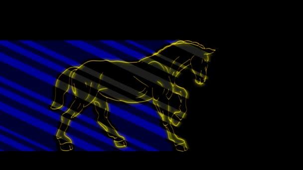 Lustige Tiere, Pferd. Neonlicht. Gestaltung von Werbebannern und Webseiten. Ein leuchtendes Zeichen.