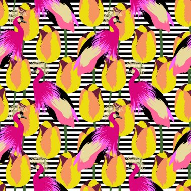 Seamless pattern with cranes and beautiful tulips and black and white strips. Vector background