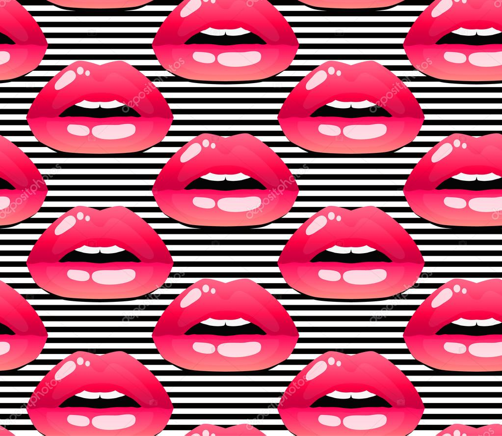 cosmetics and makeup seamless pattern with black and white stripes