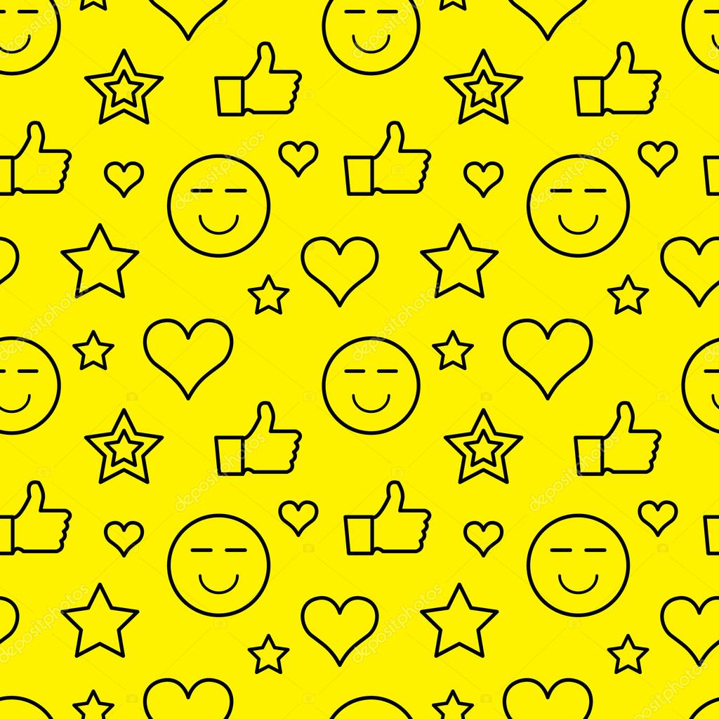 Vector seamless pattern with outline stars, hearts, like and smiles