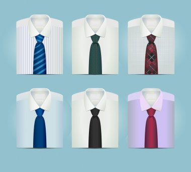 collection of mens folded shirts with ties