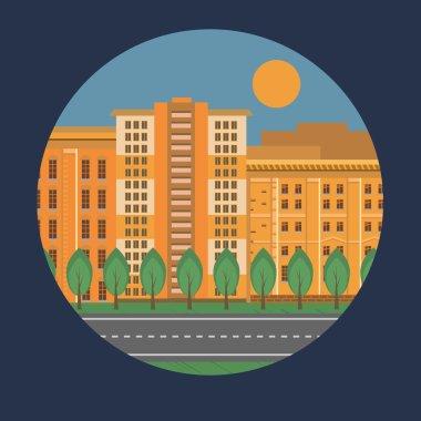 Flat city street landscape with orange houses