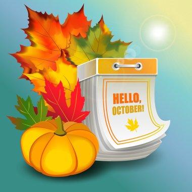 Great autumn october design in form of tear-off calendar