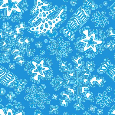 Hand drawn Stylish Merry Christmas seamless pattern with star, t
